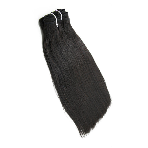 Weft straight black hair extensions VS2