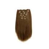 Clip in yaki straight light brown hair extensions