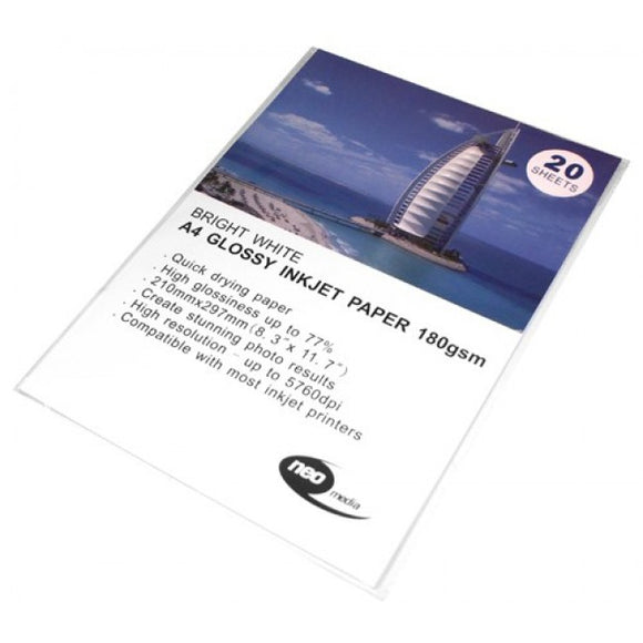 A4 Glossy inkjet photo paper Neo Media 180gsm weight