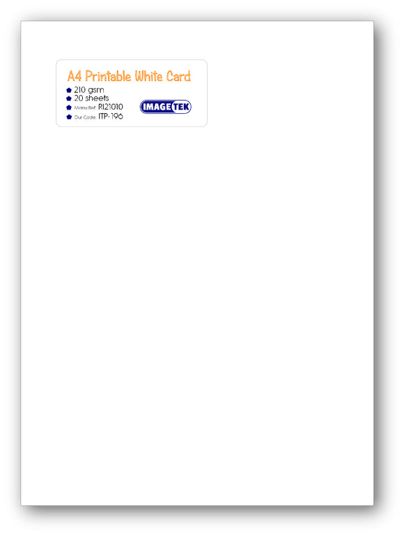 210gsm A4 White Printable Card