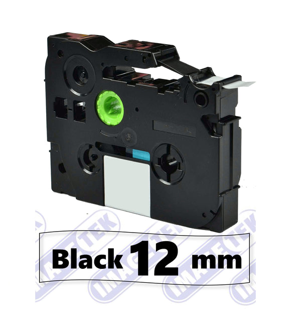Brother TZe-131 P-Touch 12mm compatible label tape black on clear