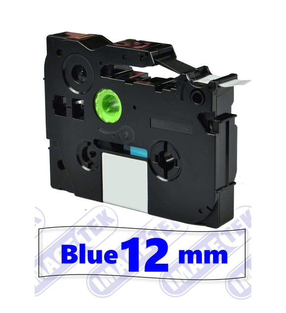Brother TZe-133 P-Touch 12mm compatible label tape blue on clear