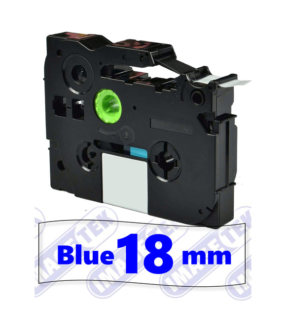 Brother TZe-143 P-Touch 18mm compatible label tape blue on clear