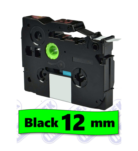 Brother TZe-731 P-Touch 12mm compatible label tape black on green