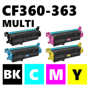 HP CF360X CF361X CF363X CF362X high capacity multipack compatible toner cartridge 508X