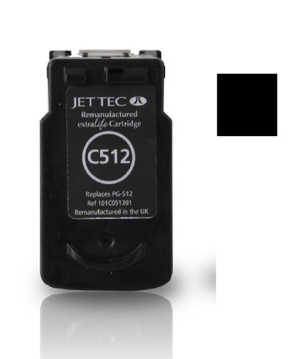 Canon PG512 recycled black inkjet cartridge Jet Tec compatible