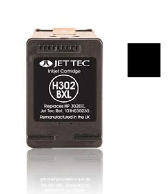 Jet Tec HP 302XL compatible recycled black inkjet cartridge F6U68A 302
