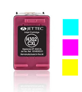 Jet Tec HP 302XL compatible recycled colour inkjet cartridge F6U67A 302
