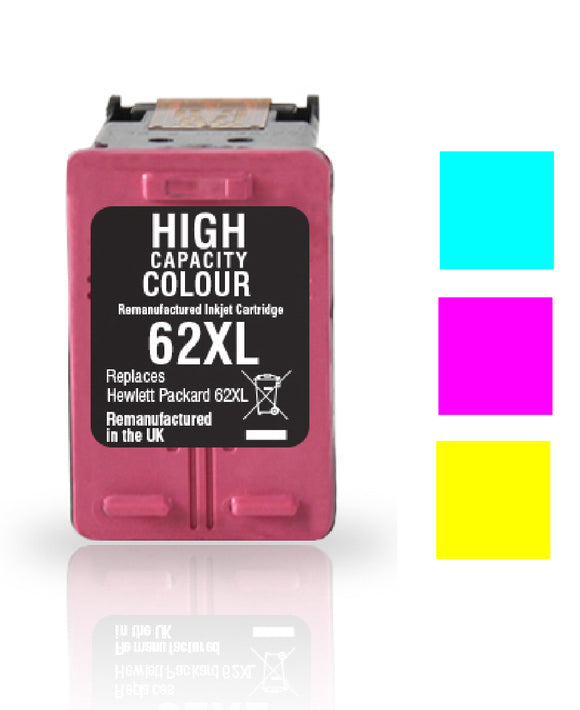 HP 62XL colour recycled inkjet cartridge Jet Tec C2P07A