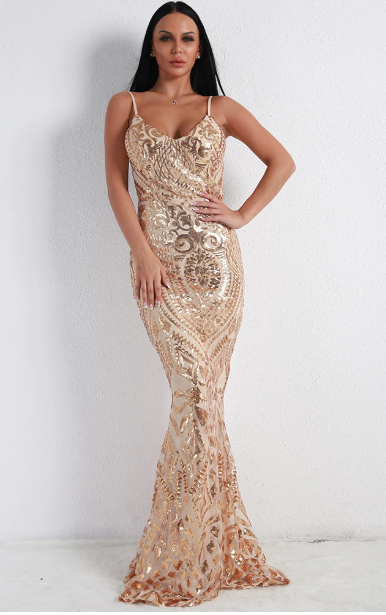 Sequin Embroided Backless Dresses