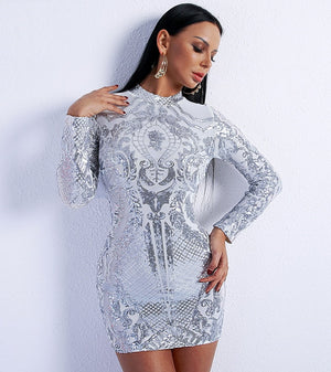 High Neck Long Sleeve Party Dress