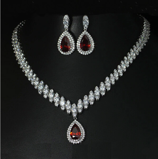 High Quality Cubic Zirconia Bridal Necklace And Earrings