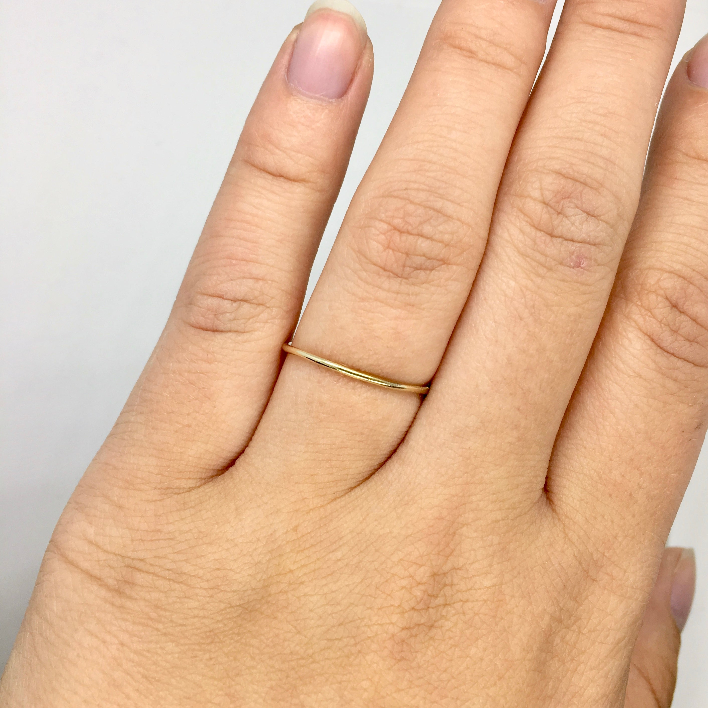 14K Gold Simple Skinny Ring