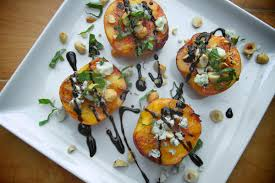 Grilled Niagara Peaches with Blue Cheese & Honey
