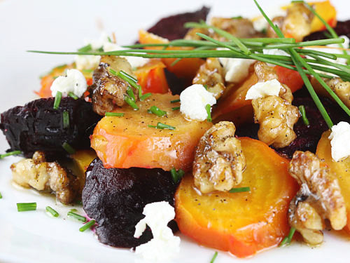 Roasted Beet & Black Pepper Goat Cheese Salad with Toasted Walnuts