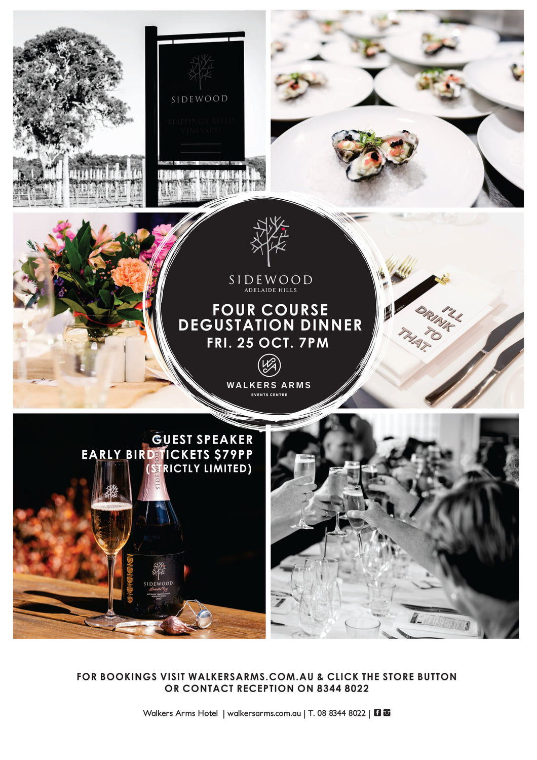 Walkers Arms - Sidewood Estate Degustation Dinner Oct 25 - EARLY BIRD
