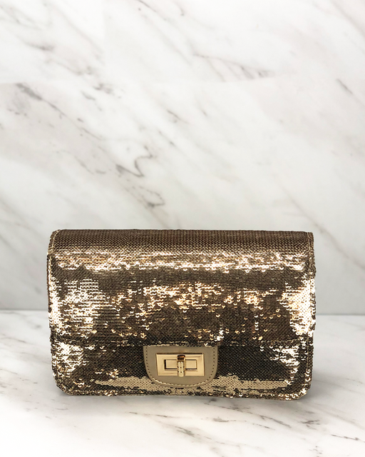 Sequin Classic Mini Flap | Gold