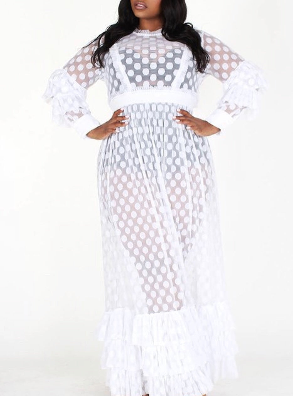 Look, But Don't Touch Mesh Maxi Dress | White