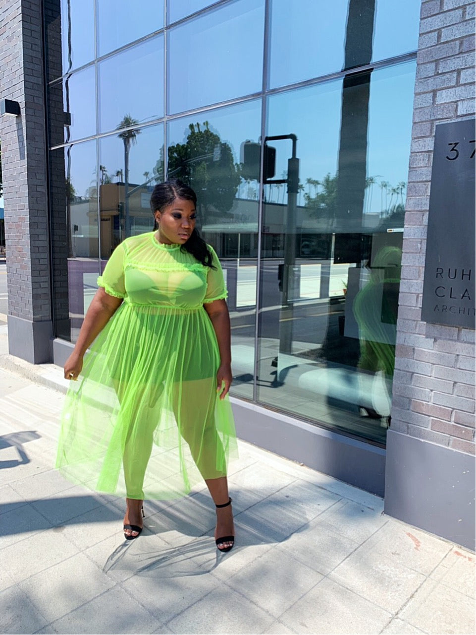 Hot Girl Mesh Dress | Neon Green