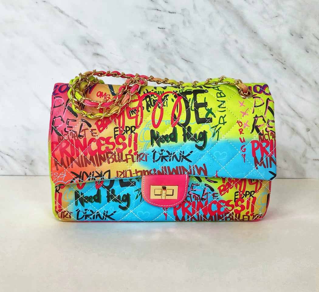Talk That Talk Classic Flap Shoulder Bag | Graffiti Mix
