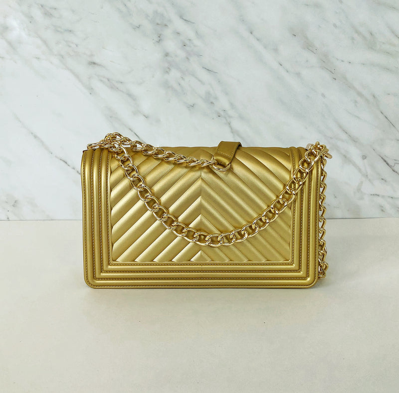 Chevron Metallic Boy Bag | Gold