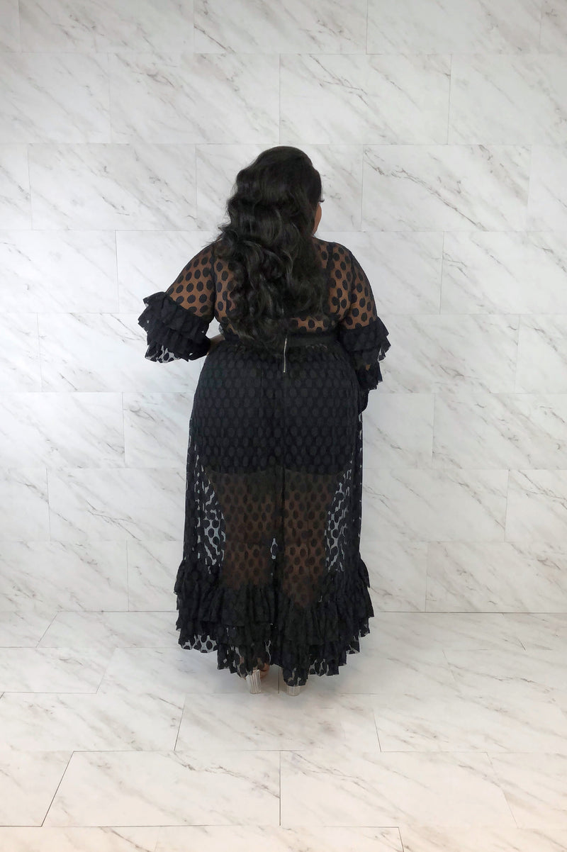Look, But Don't Touch Mesh Maxi Dress | Onyx