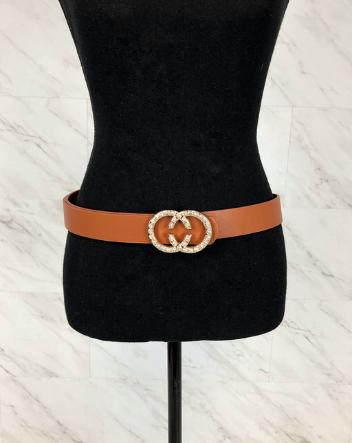 So Chic Faux Leather Belt | Cognac