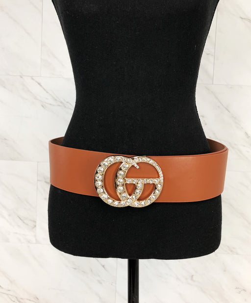 Make 'Em Look Twice Embellished Belt | Cognac