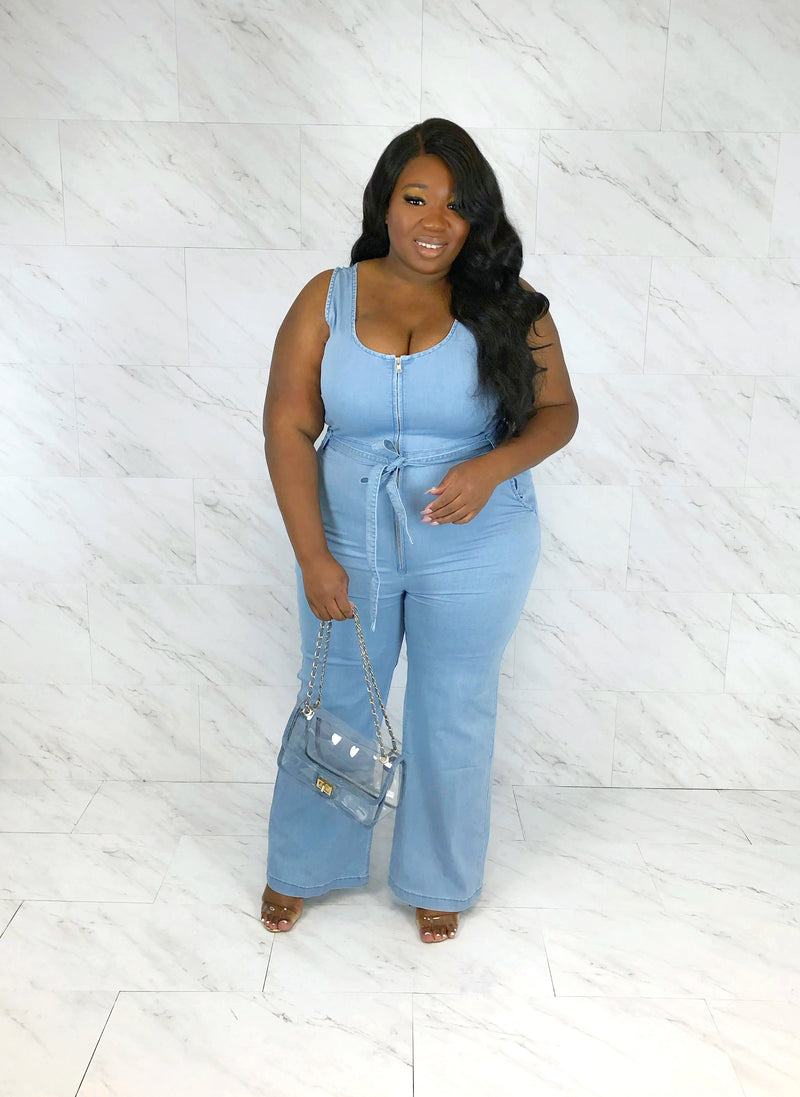 Walk it Like I Talk It Denim Jumpsuit | Light Wash