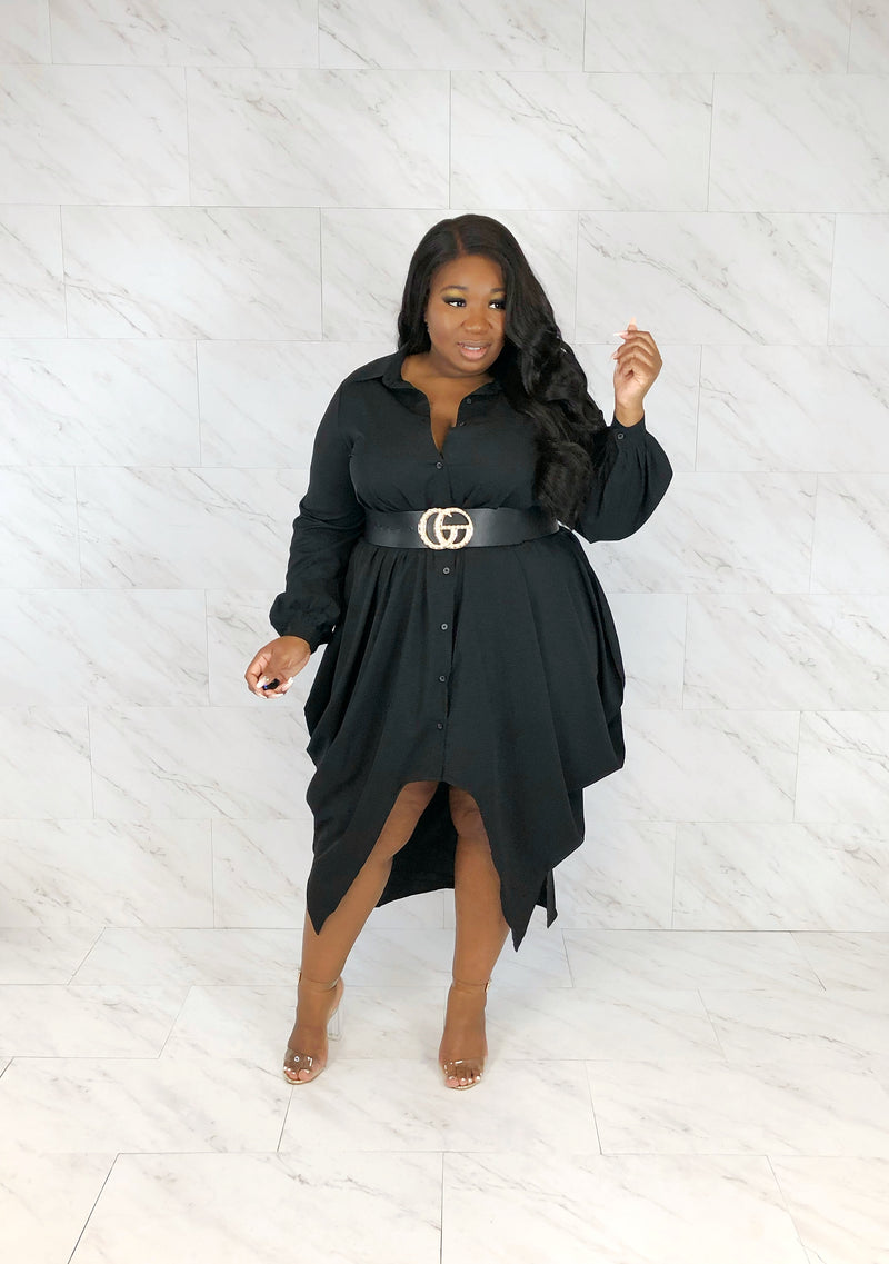 Boardroom Draped Shirt Dress | Onyx