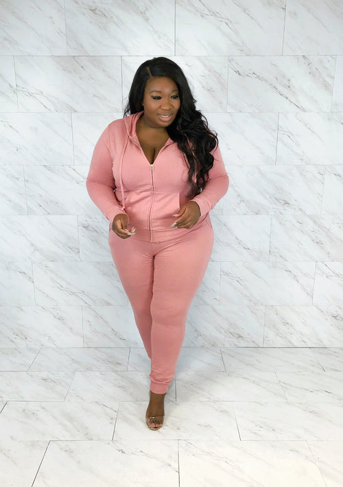 Zip Hoodie Jogger Set | Dusty Rose