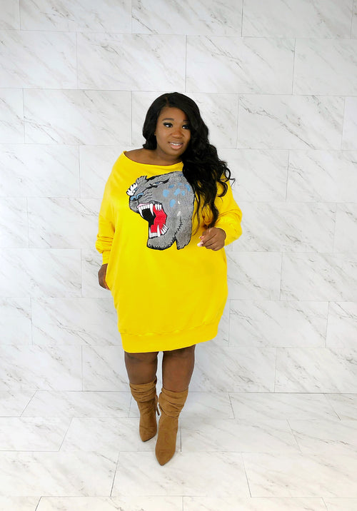 Chic & Fierce Sweat Dress | Yellow