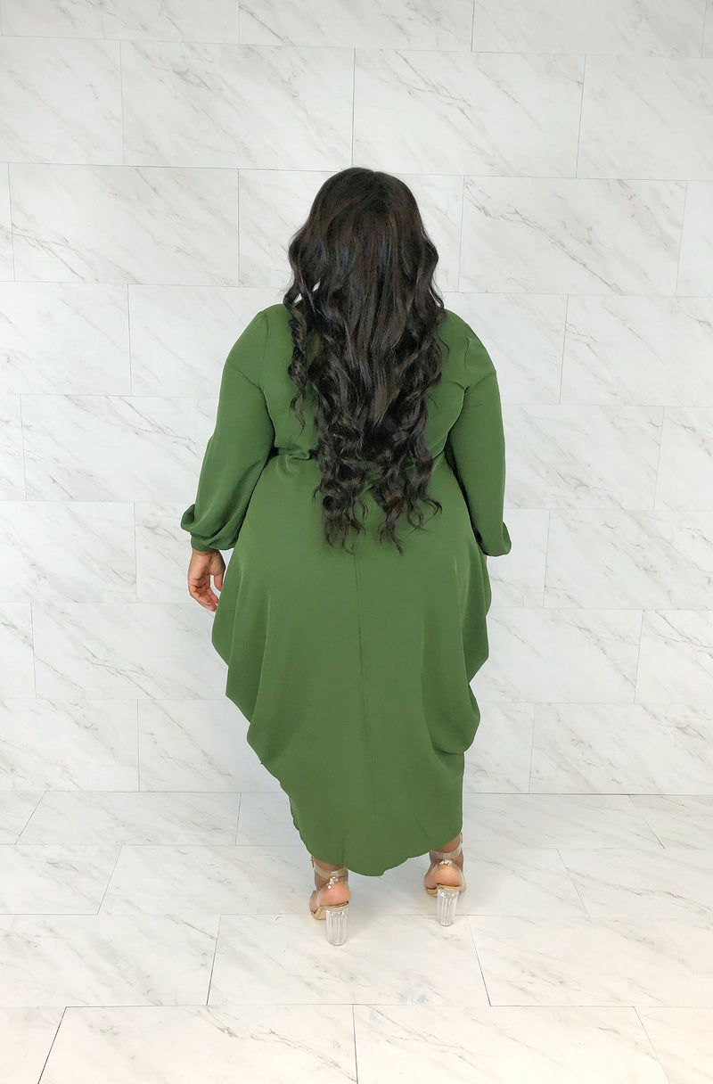 Boardroom Draped Shirt Dress | Olive
