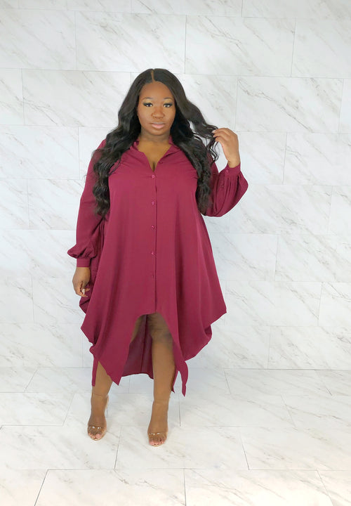 Boardroom Draped Shirt Dress | Merlot