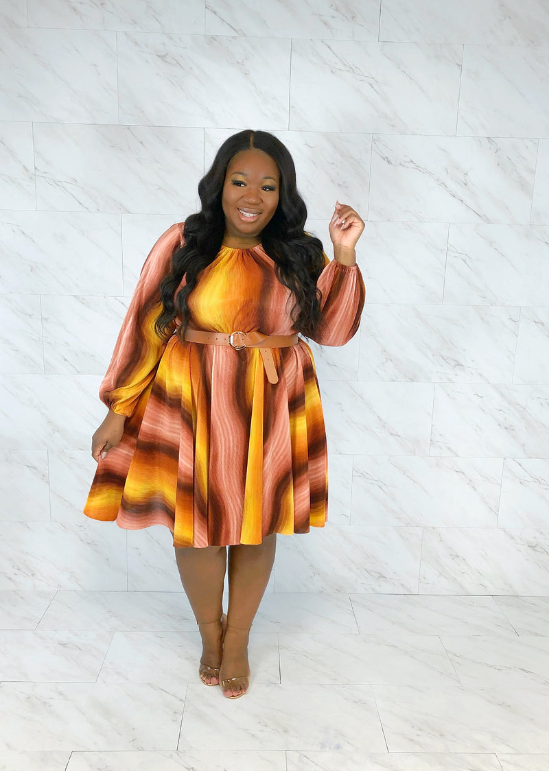 Candy Dreams Fit & Flare Dress | Brown Sugar