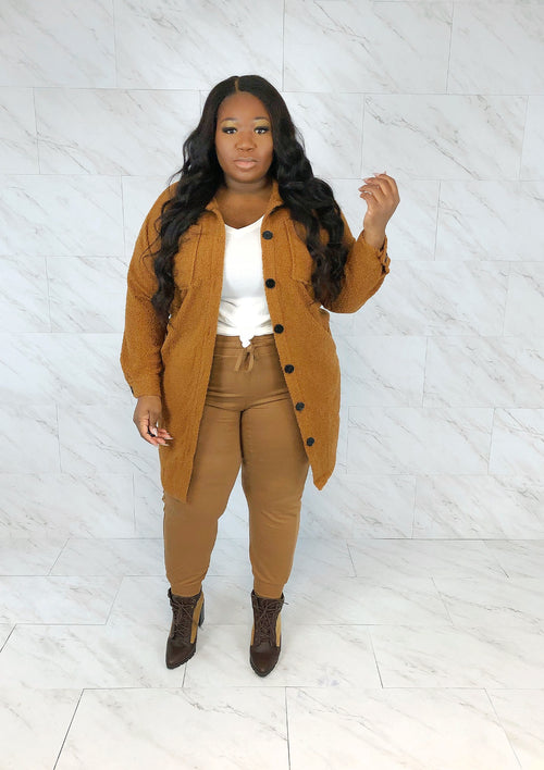 Teddy Shirt Coat | Toffee