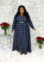 Plaid Maxi Shirtdress | Navy Mix