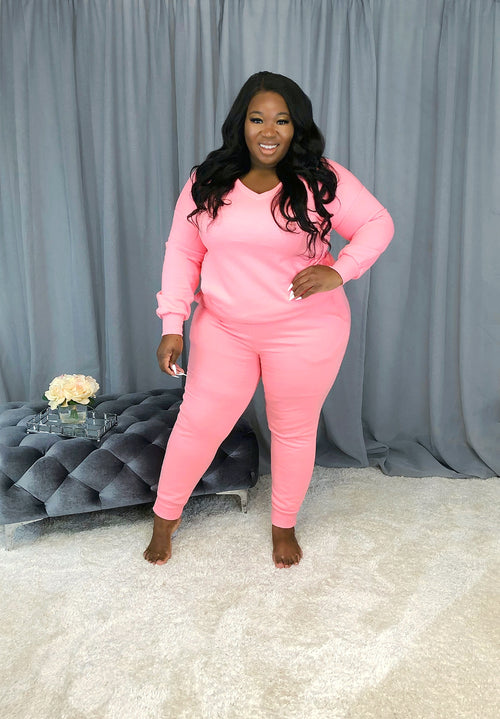 Cute & Cozy Sweat Set | Bright Baby Pink