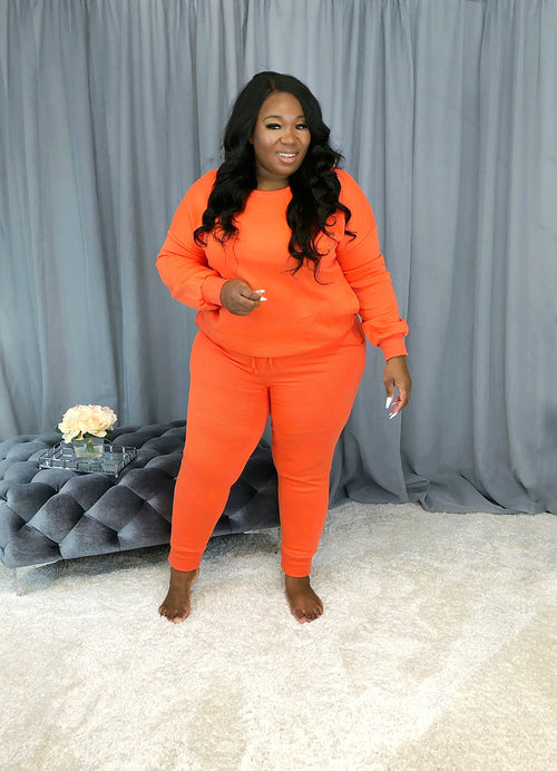 Cute & Cozy Sweat Set | Tangerine