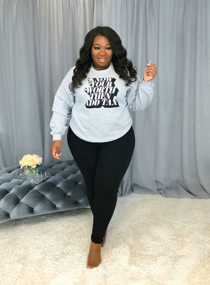 Know Thy Worth Graphic Sweater | Heather