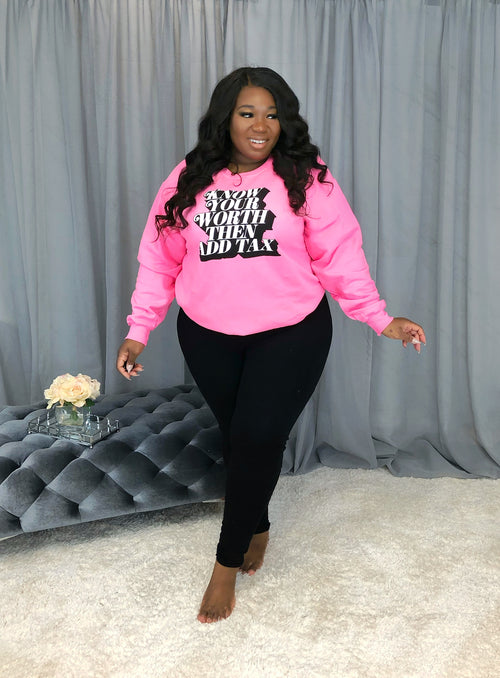 Know Thy Worth Graphic Sweater | Hot Pink