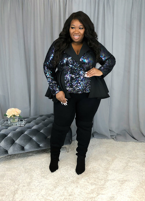 Sparkle Sequin Peplum Jacket