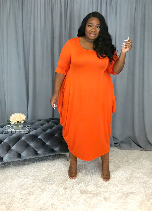 Draped Shift Dress | Tangerine
