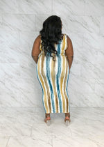 Perfect Fit Bodycon Maxi | Watercolor Stripe