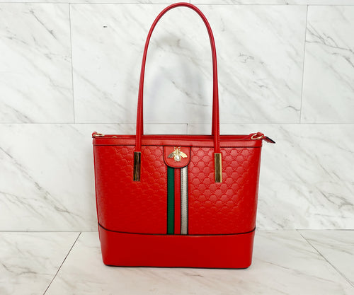 Signature Stripe Three Piece Tote Set | Cherry Red