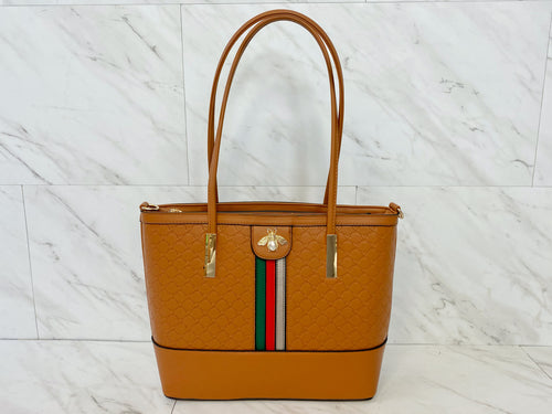 Signature Stripe Three Piece Tote Set | Cognac