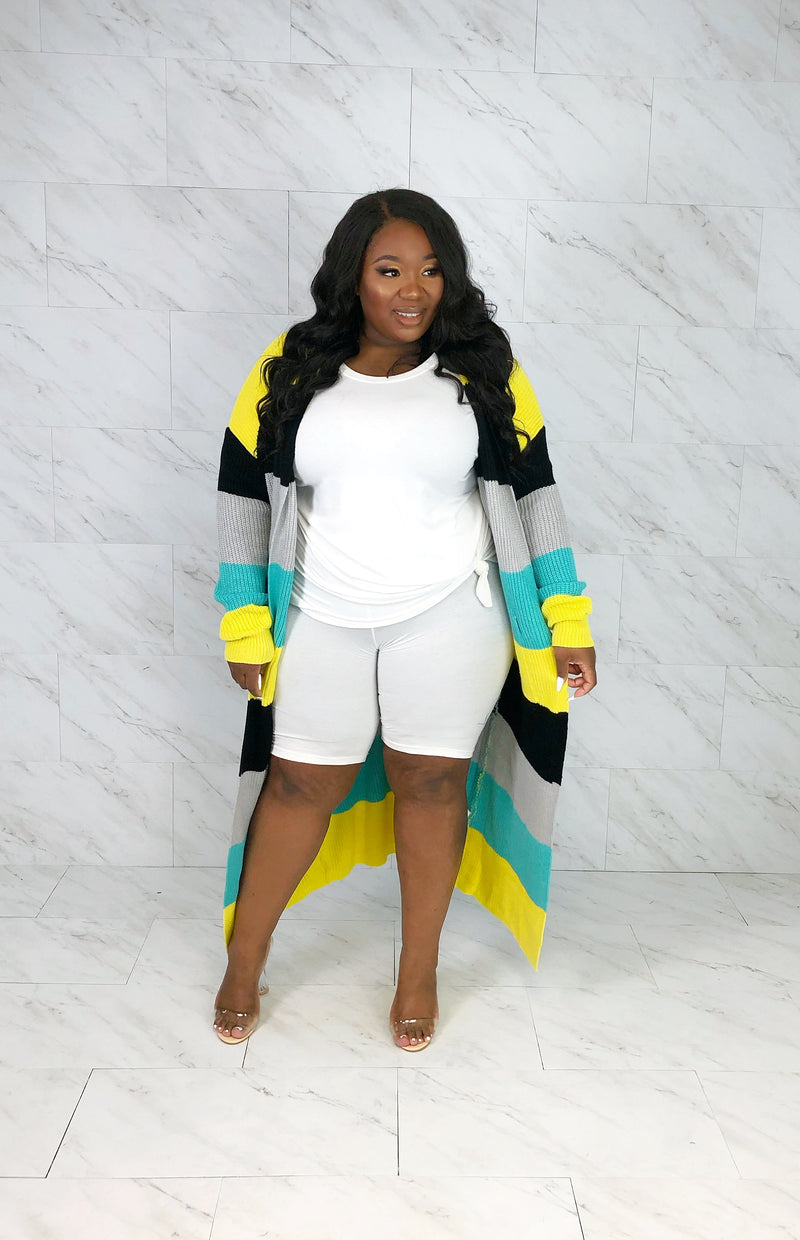 Stripe Me Out Chunky Cardi | Lemon Mix