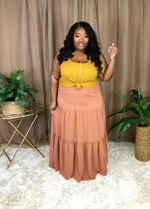 Boho Tiered Maxi Skirt | Persimmon