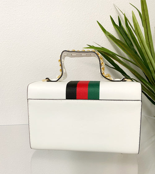 Boujee Bee Signature Stripe Handbag | White