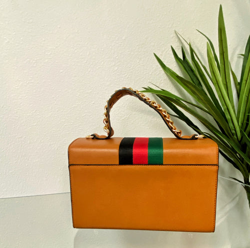 Boujee Bee Signature Stripe Handbag | Cognac